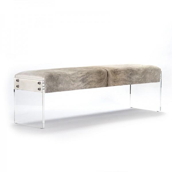 Salvador Cowhide & Lucite Bench