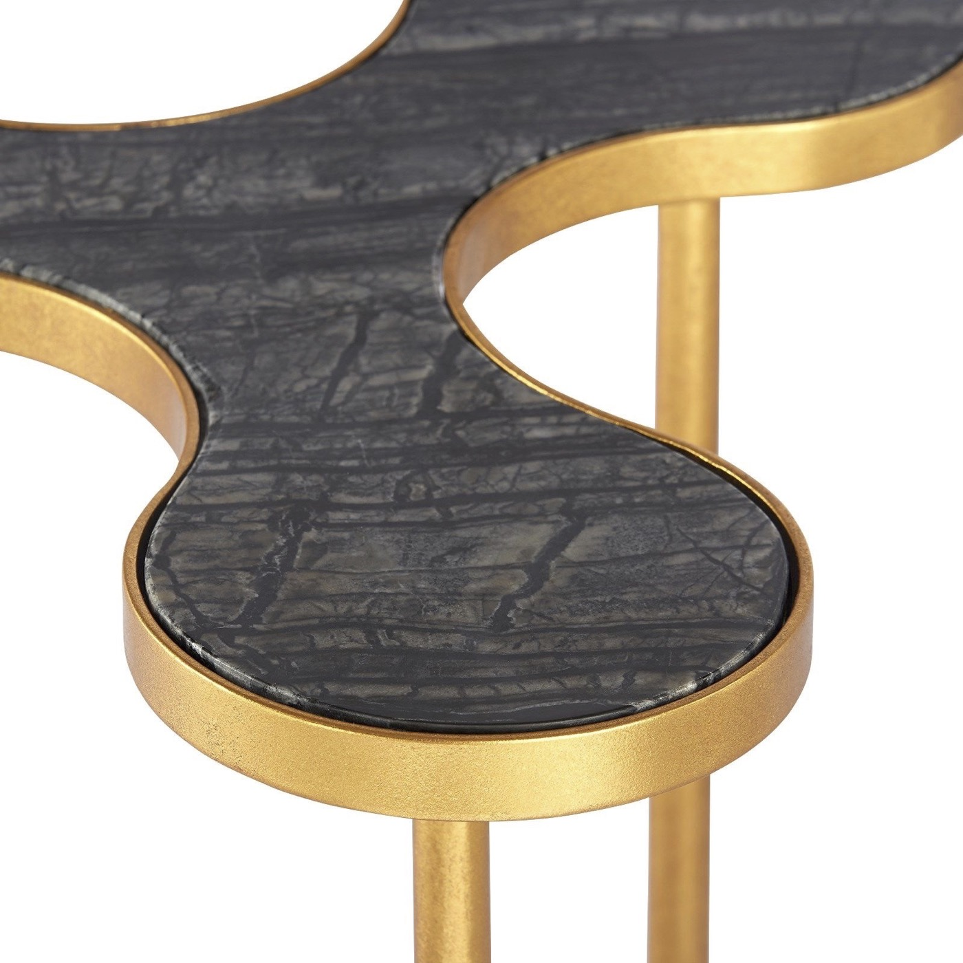Spinner Iron Side Table | Black Marble