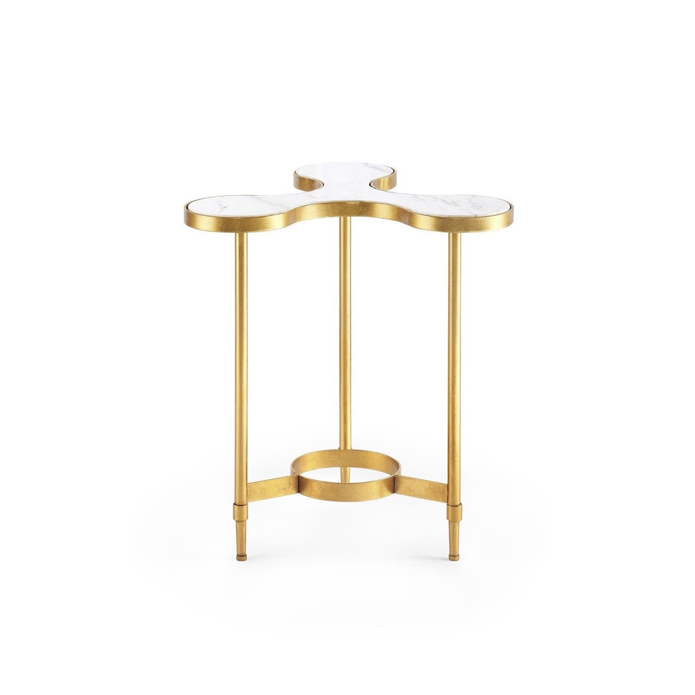 Spinner Iron Side Table | White Marble
