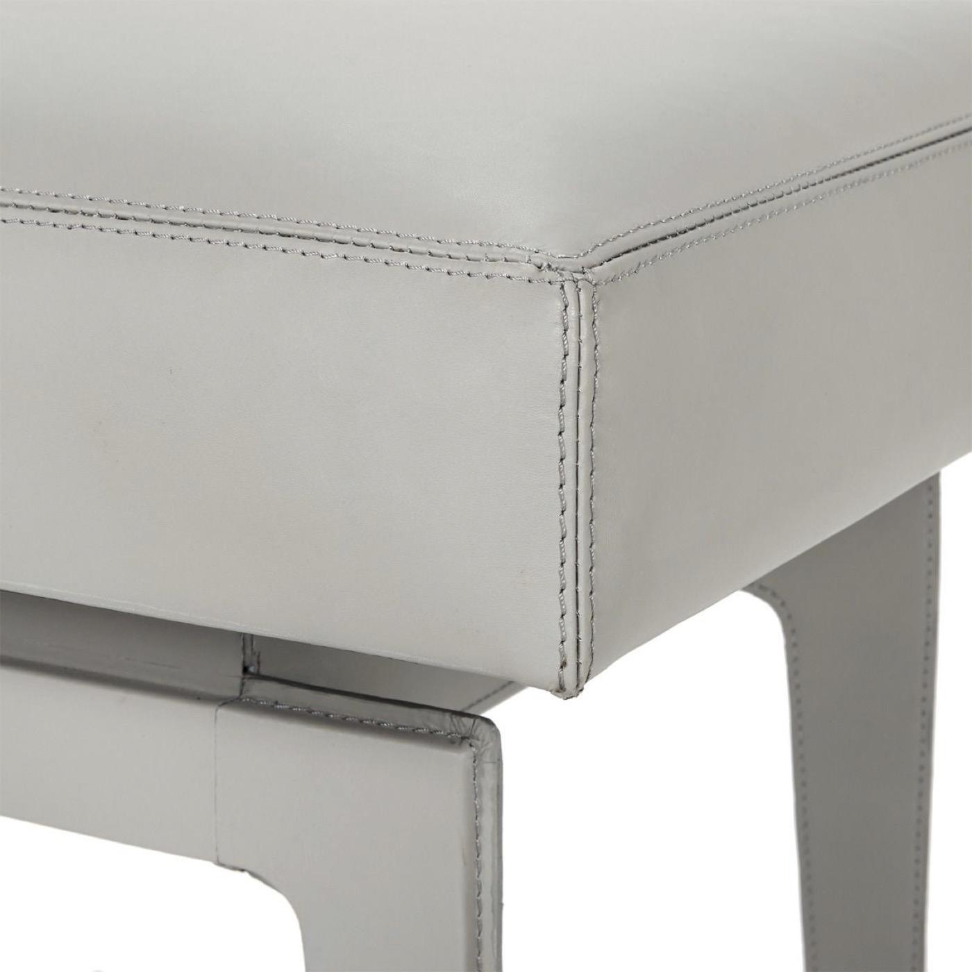 Churchill Leather Stool | Grey