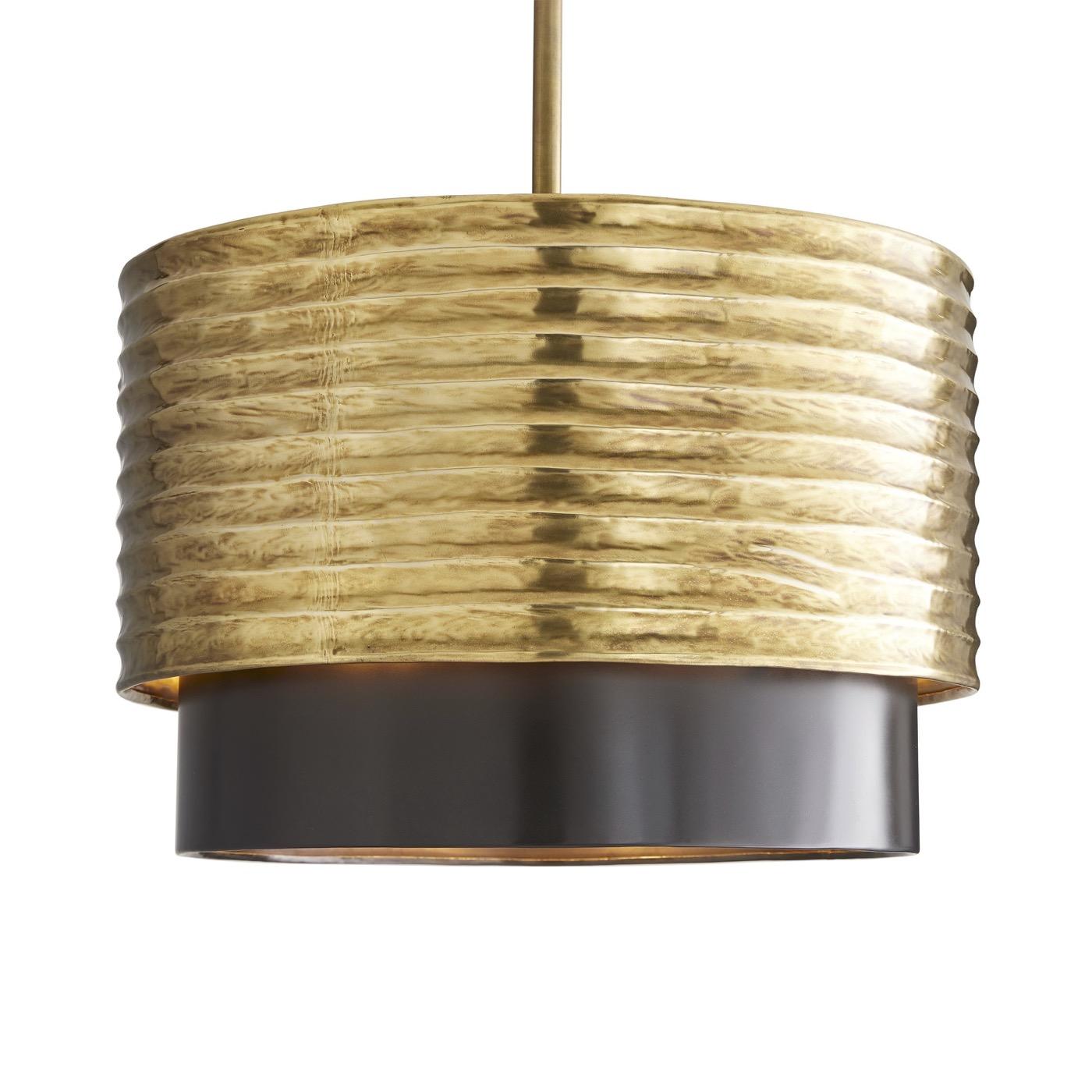 Ridley Ribbed Brass Pendant