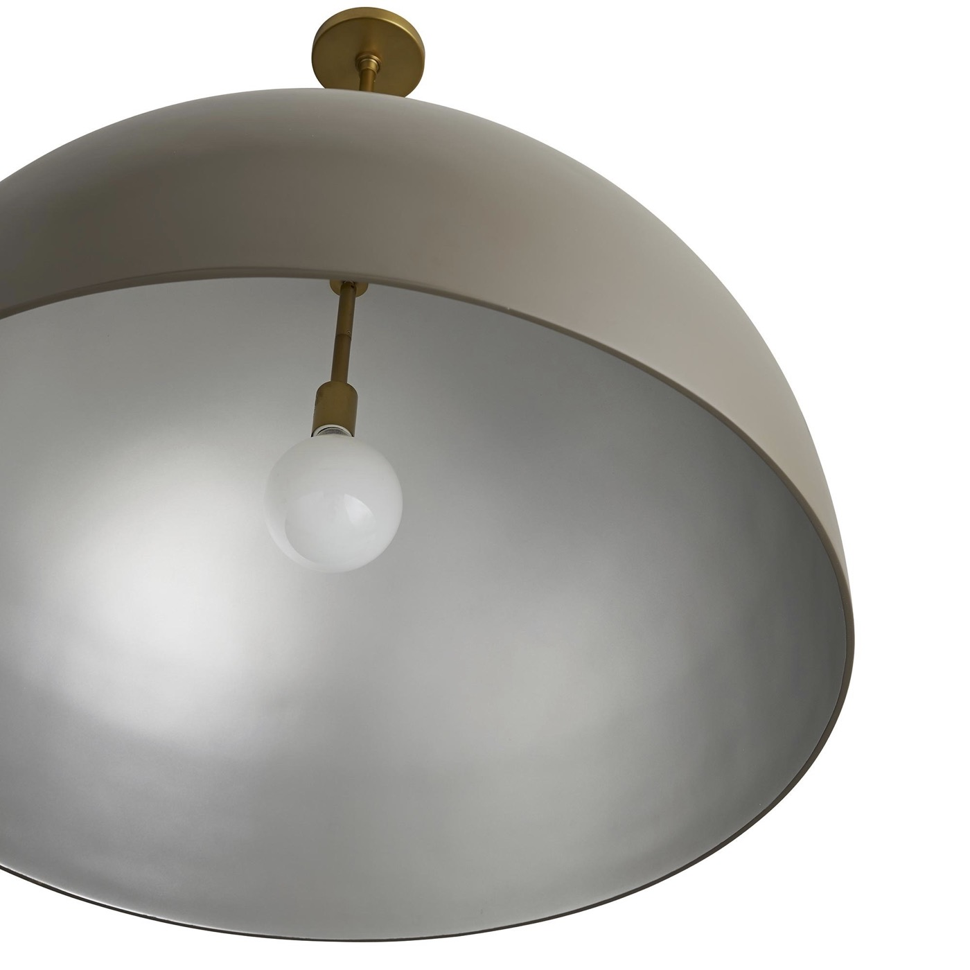 Rhys Dome Pendant | Taupe & Silver