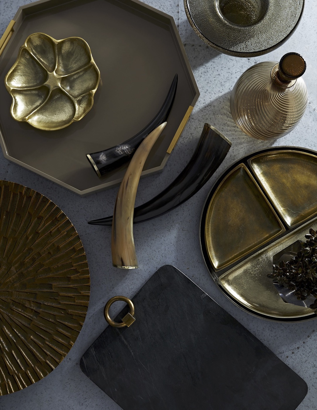 Louise Octagonal Laquered Tray | Taupe