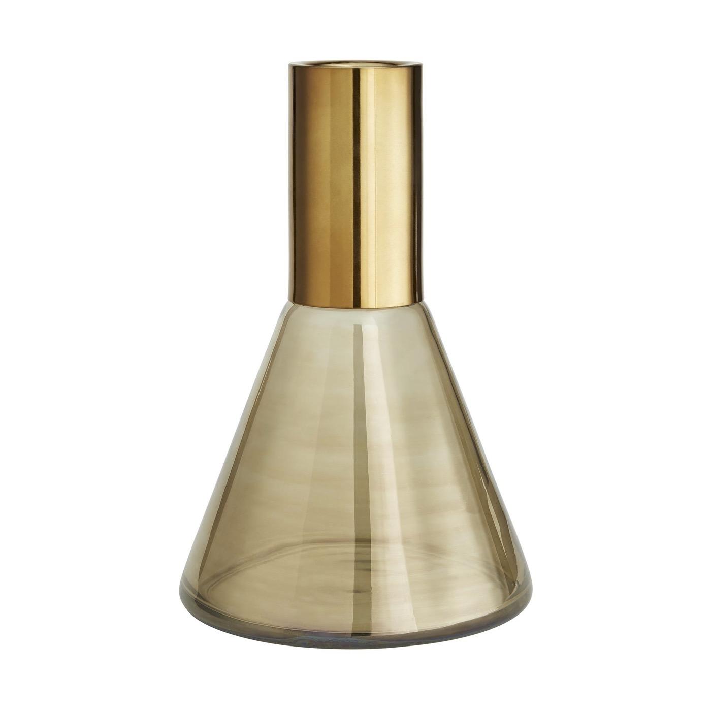 Newton Glass Vases Set | Brass