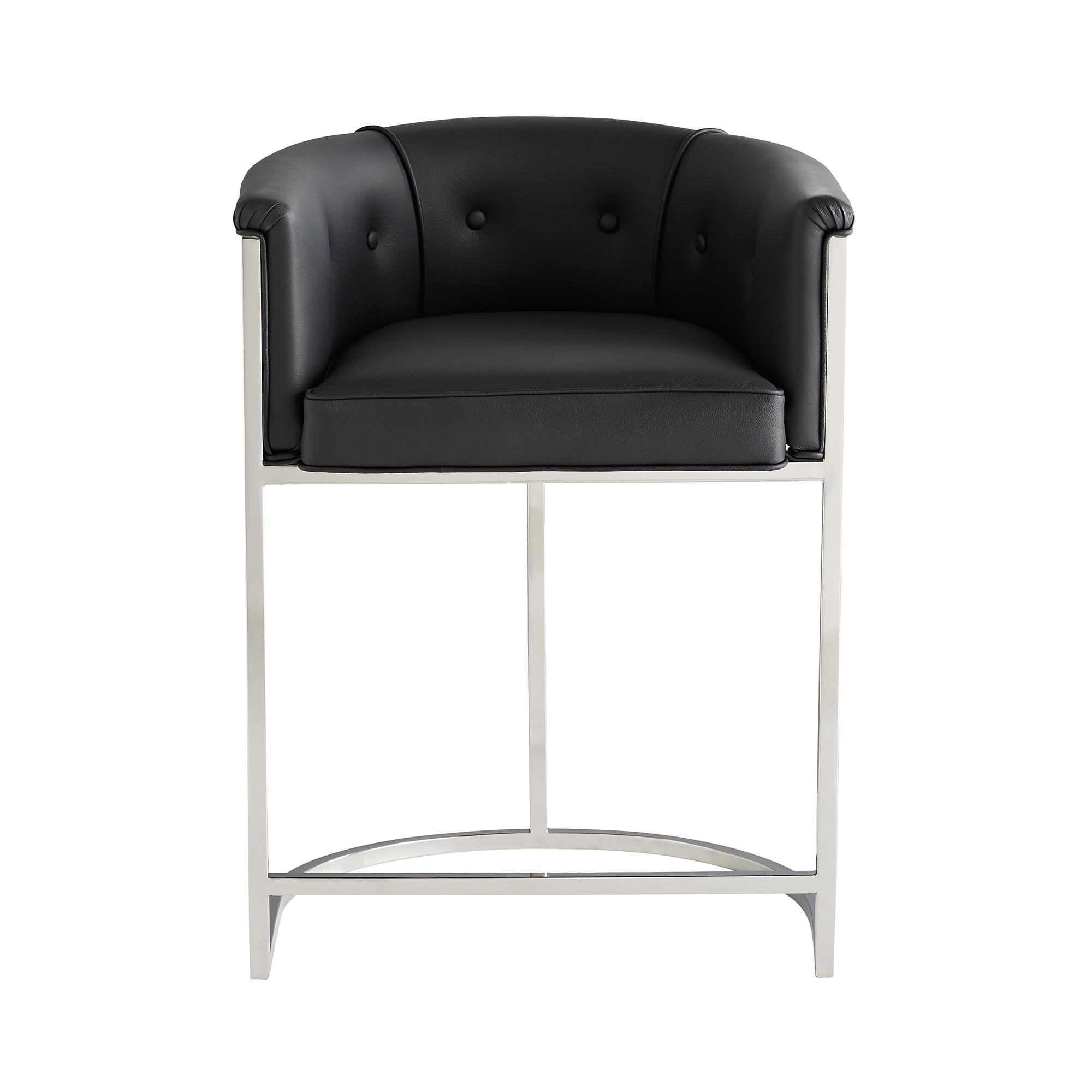 Klein Leather Counter Stool w/Back | Black