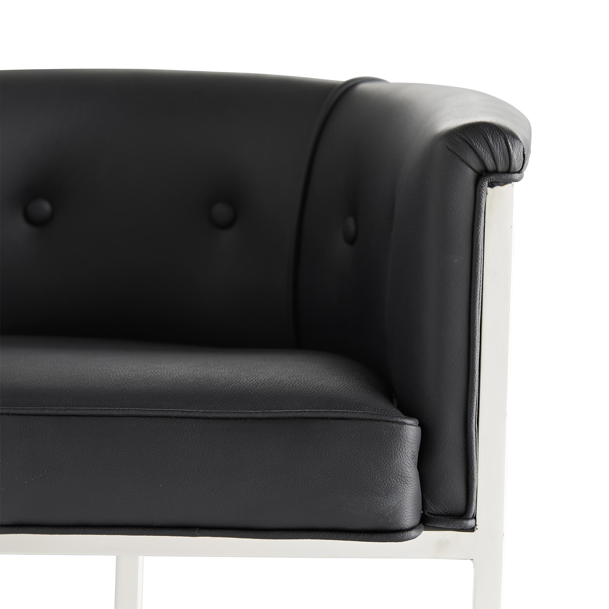 Klein Leather Bar Stool w/Back | Black