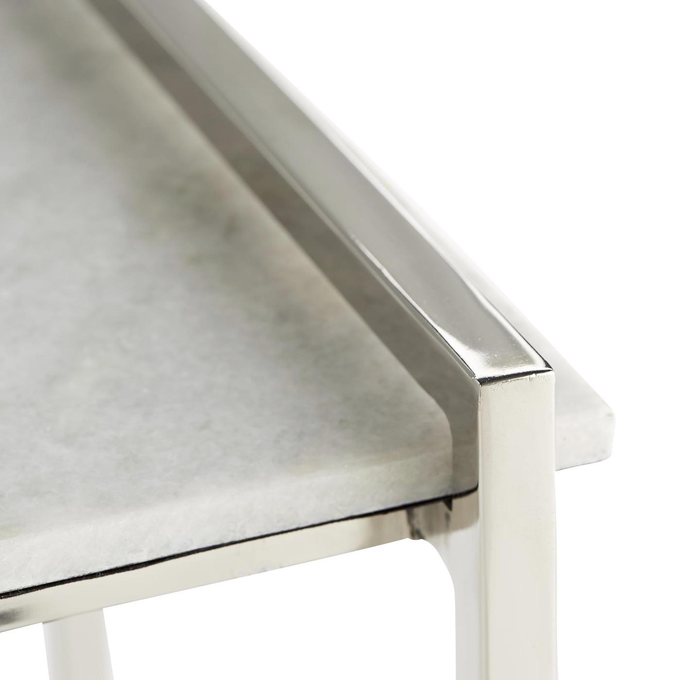 Boulangerie Side Table | Steel & White Marble
