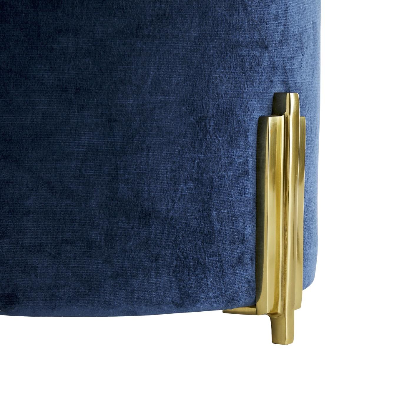 Darden Velvet Stool | Blue