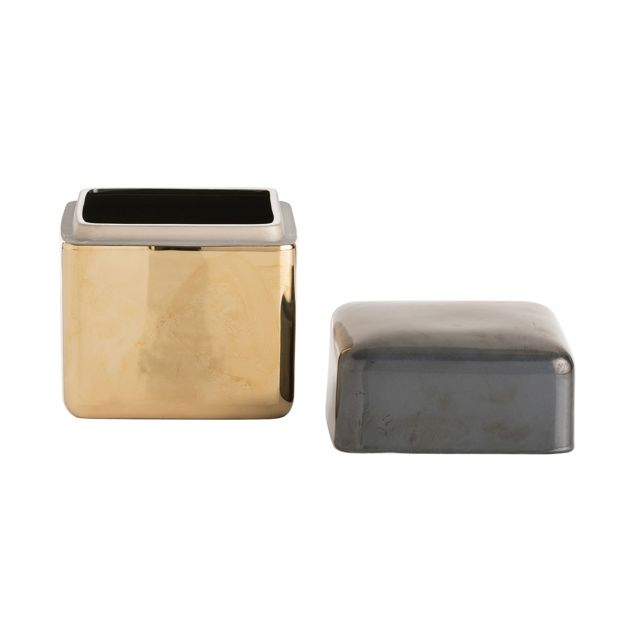 Carraway Metallic Ceramic Jar | Square