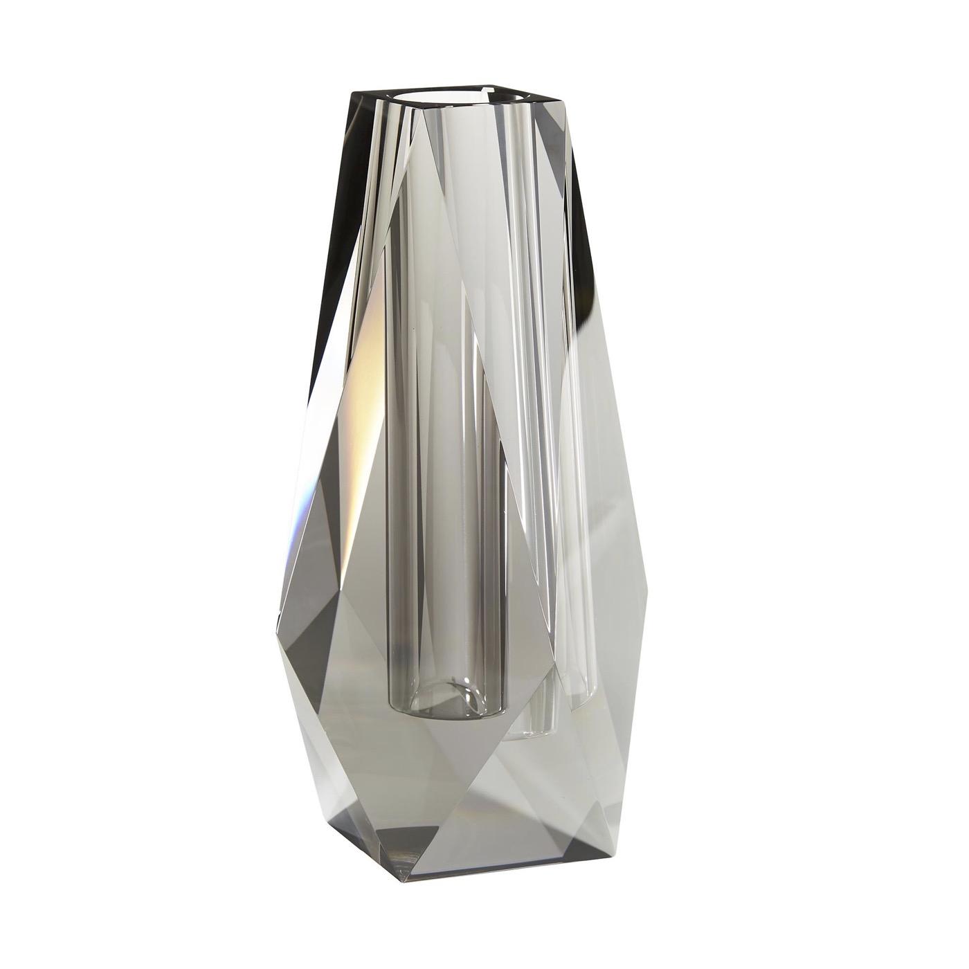 Carat Crystal Vase | Grey