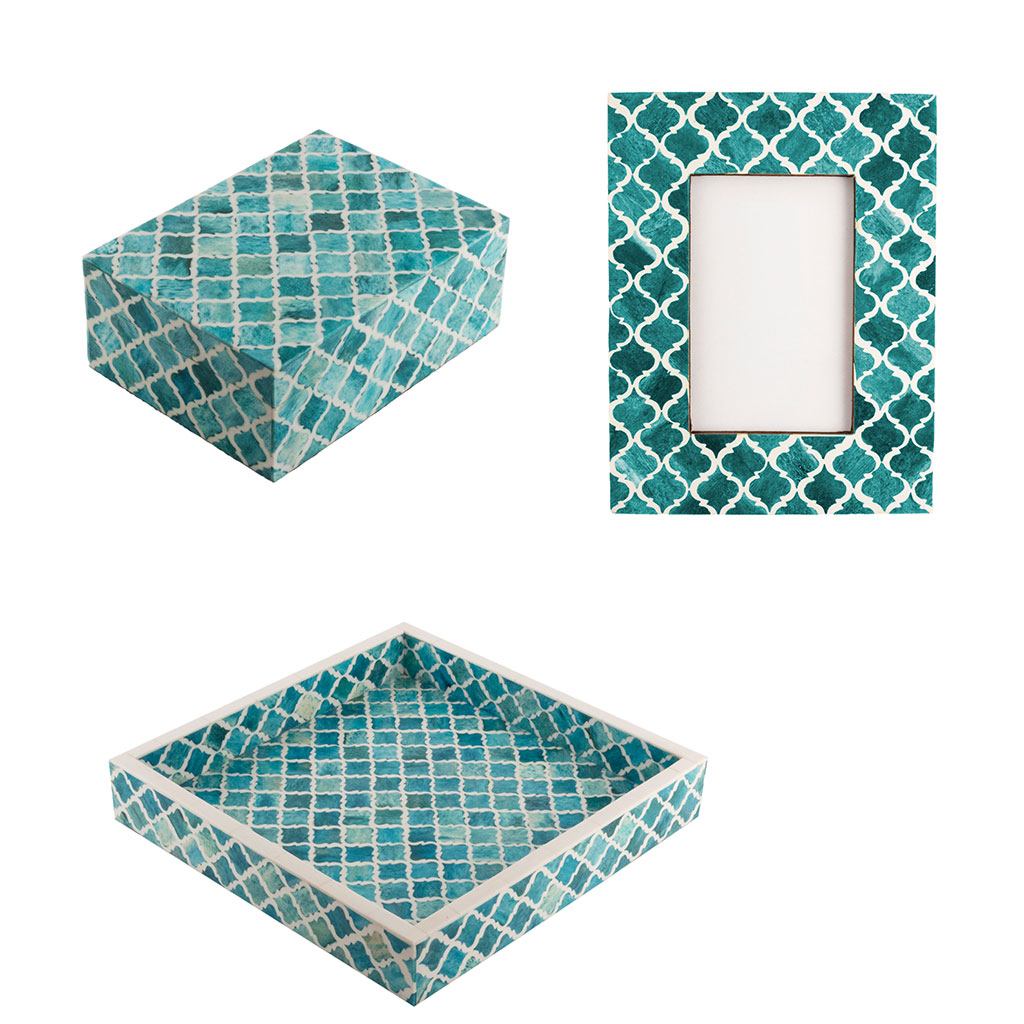 Kasbah Bone Boxes | Turquoise