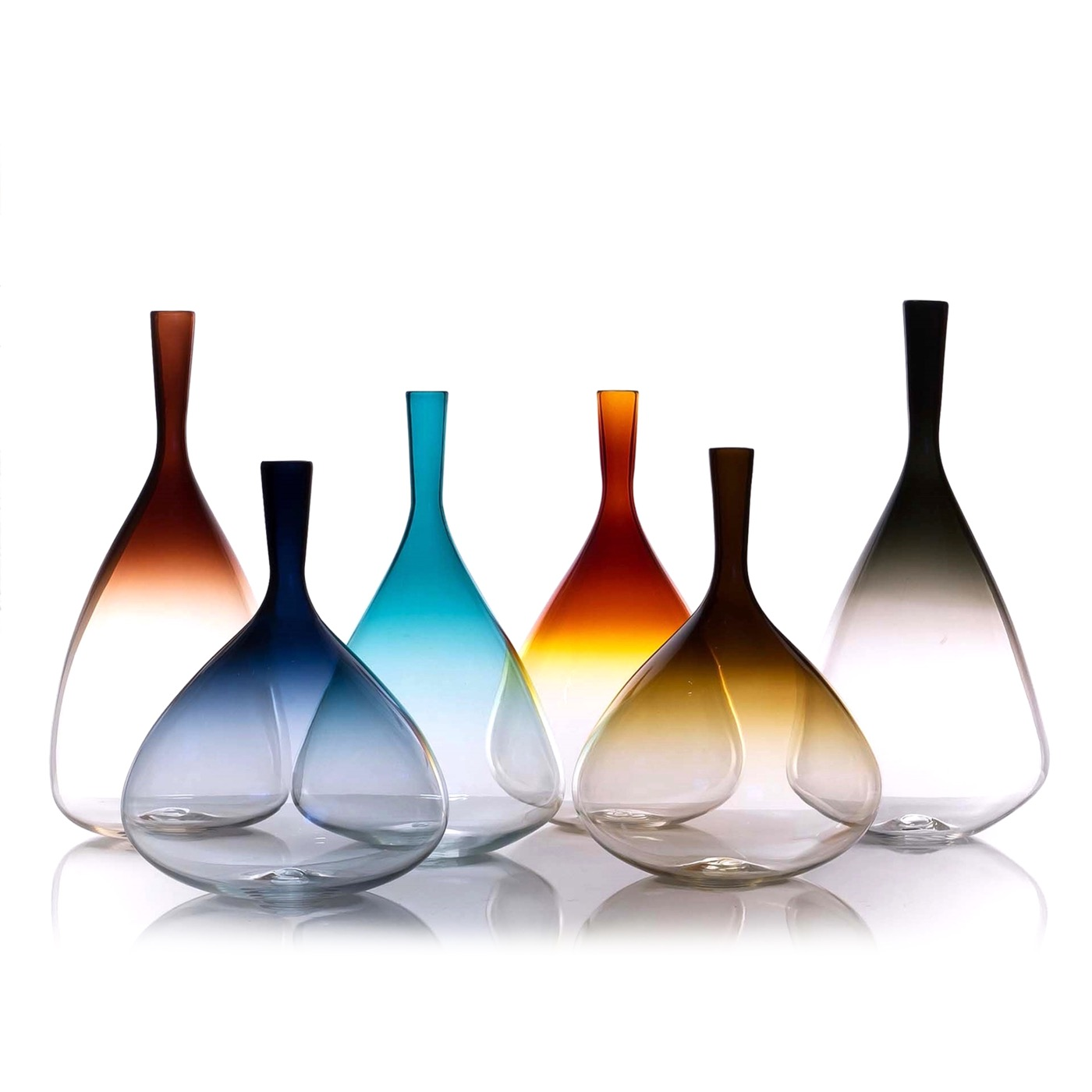 Stefano Glass Vases | Cool Colors