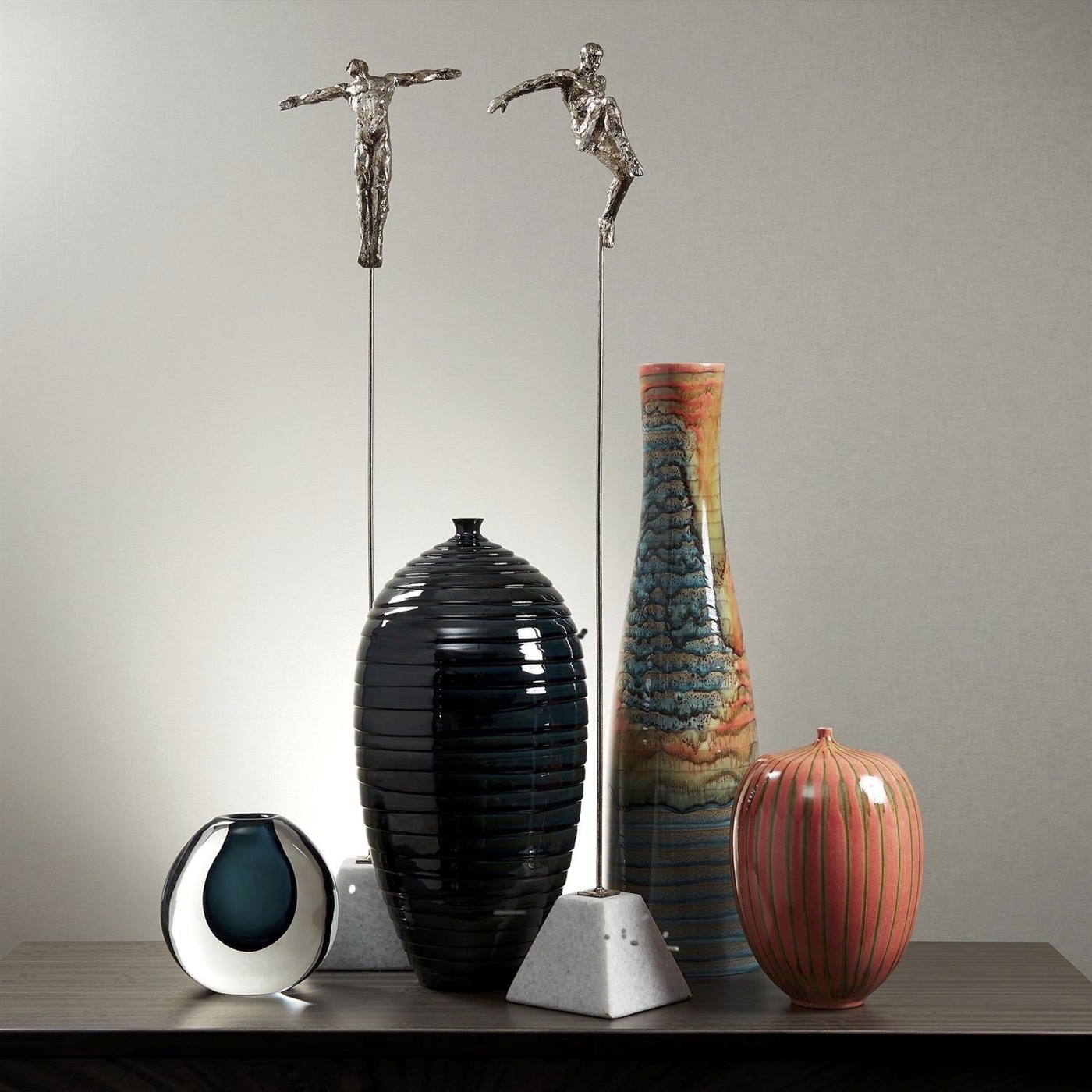 Saul Striated Ceramic Vases