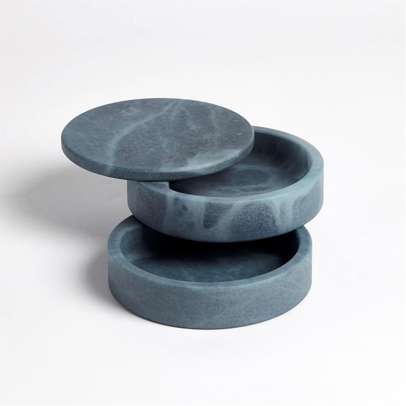 Cazi Alabaster Swivel Box | Blue