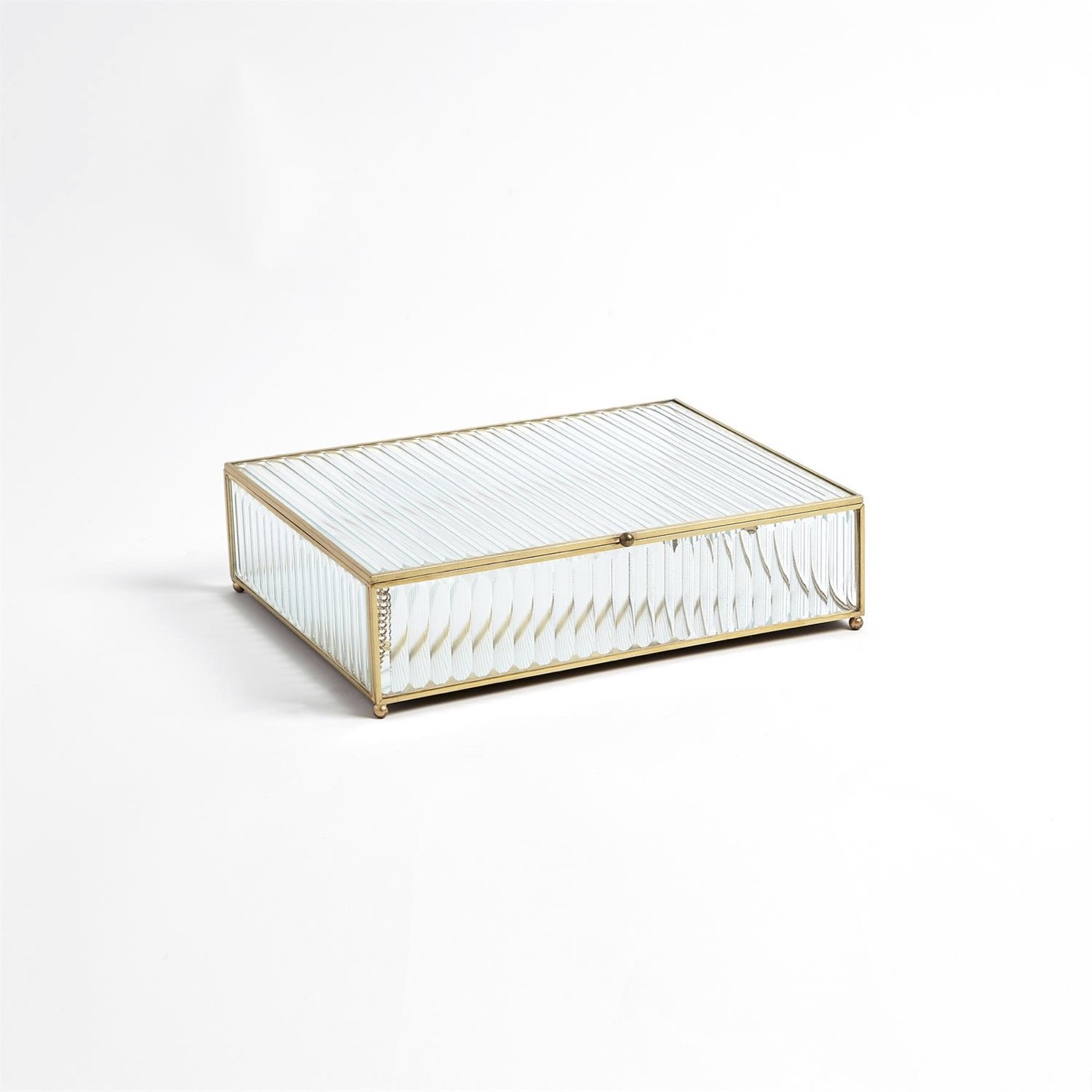 Gable Ribbed Glass Boxes