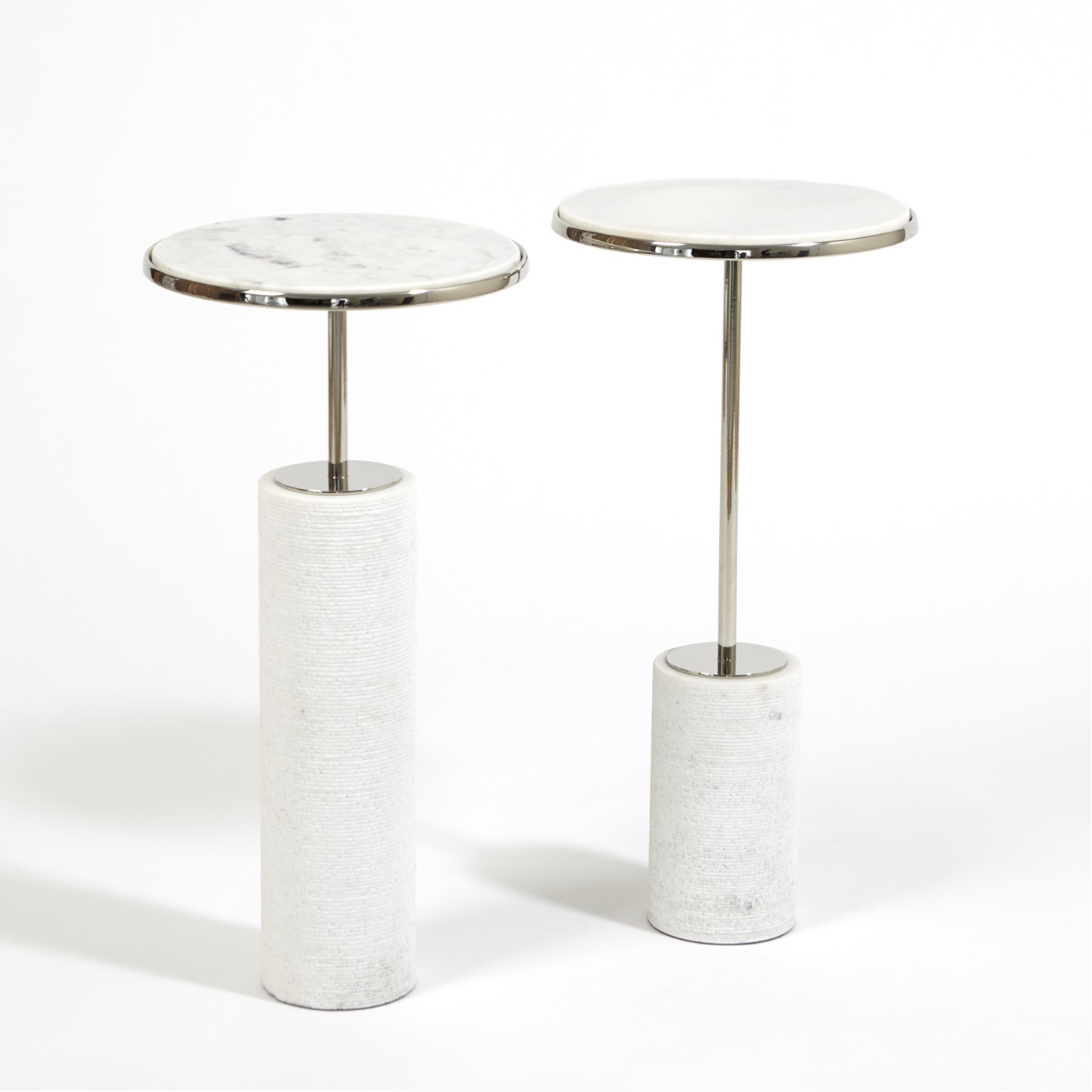 Tobias Marble Drink Tables | Nickel