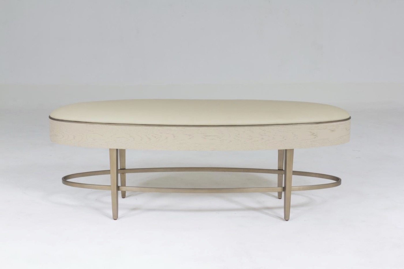 Royce Leather Bench | Ivory