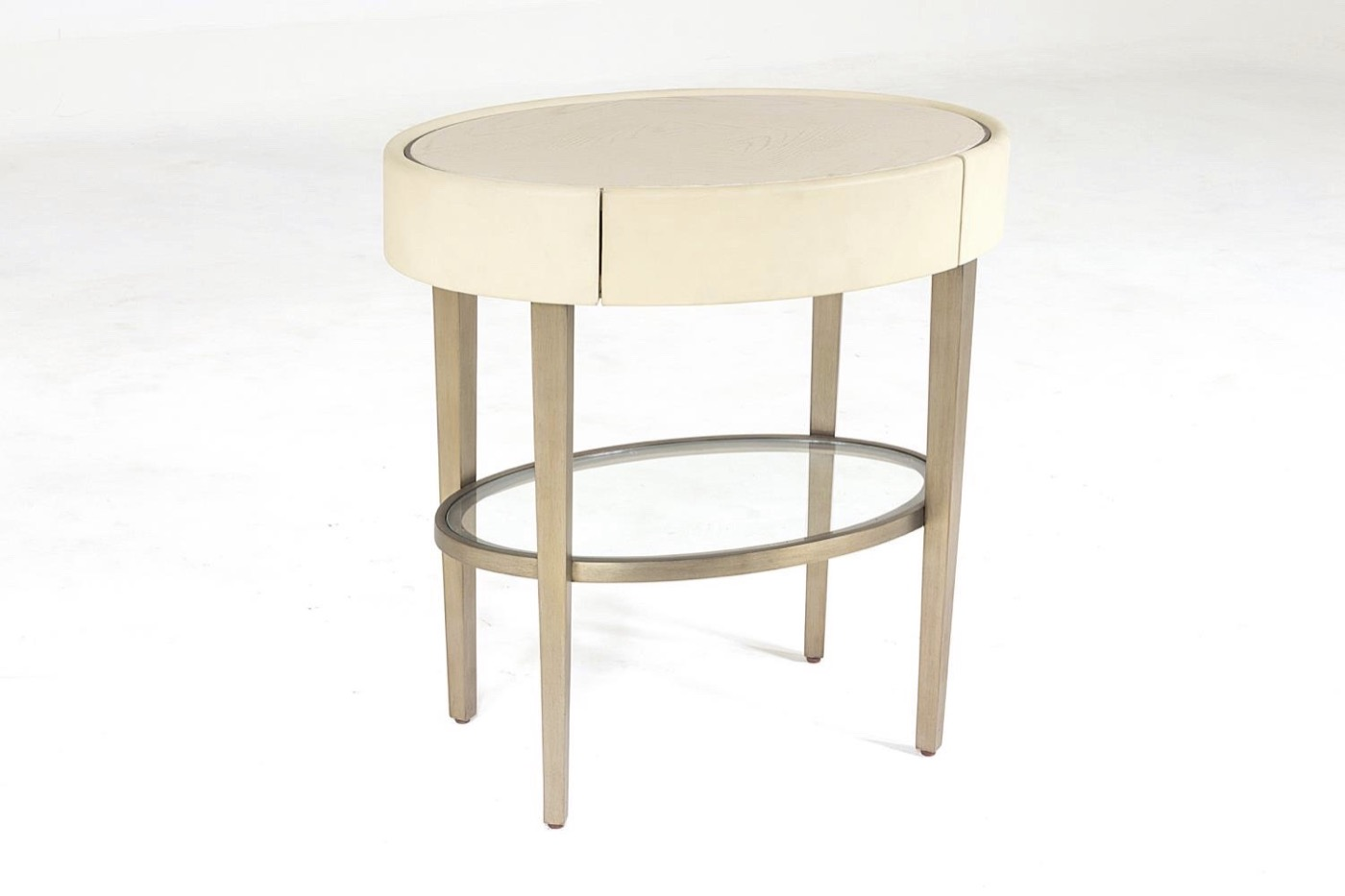 Royce Leather Side Table | Ivory