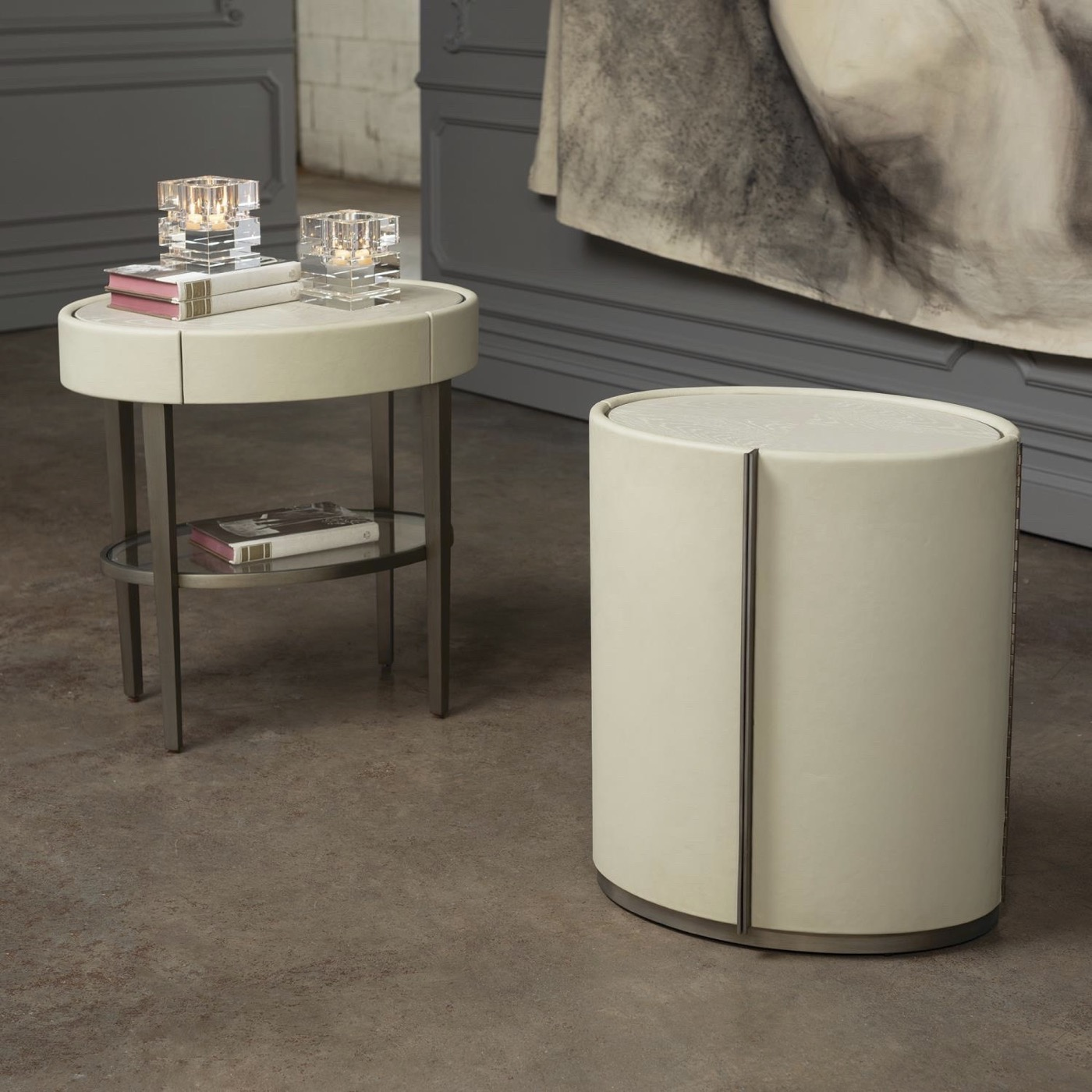 Royce Cabinet Side Table | Ivory