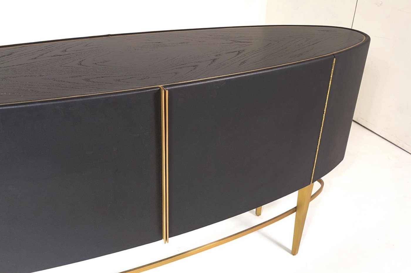 Royce Leather Buffet Cabinet | Black