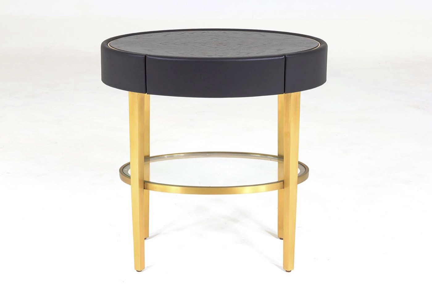 Royce Leather Side Table | Black