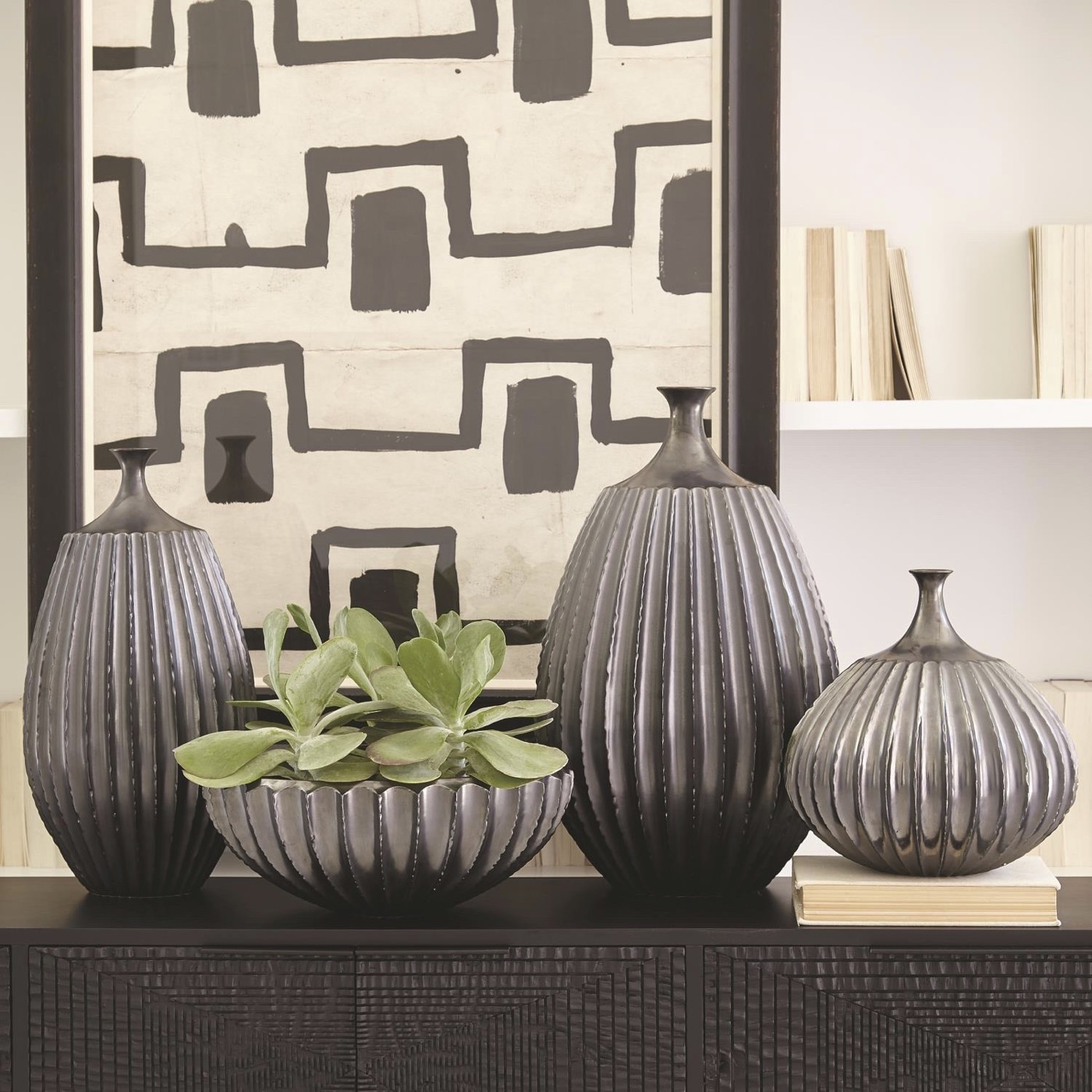 Grillo Ceramic Vases | Dark Grey
