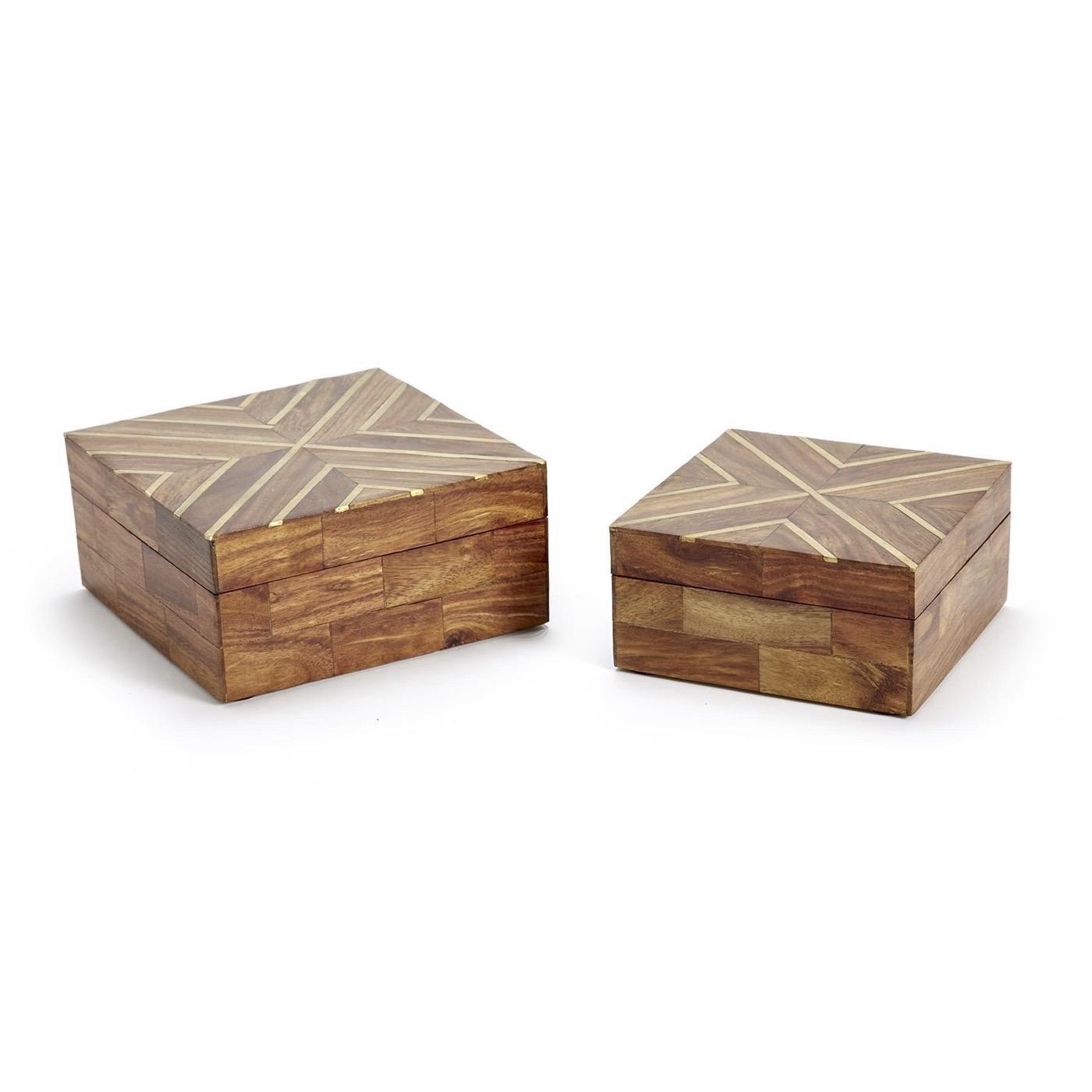 Rickert Wooden Boxes Set | Brass Inlay