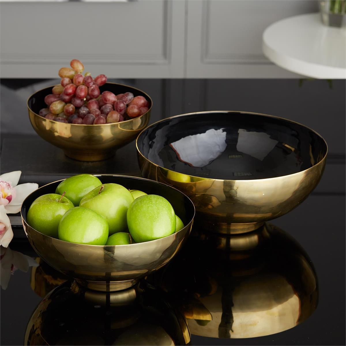 Zula Brass Bowls Set   Black