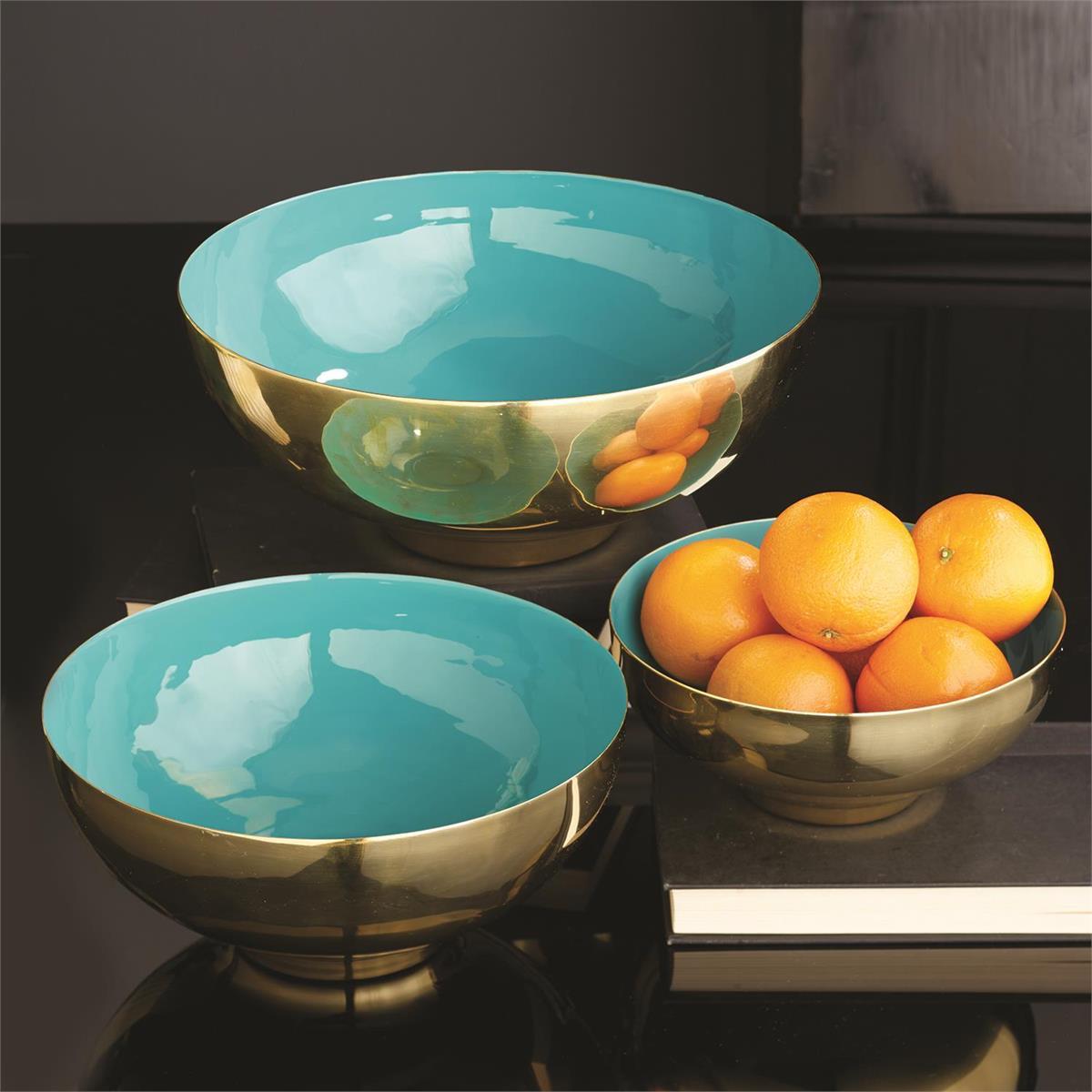 Zula Brass Bowls Set | Turquoise