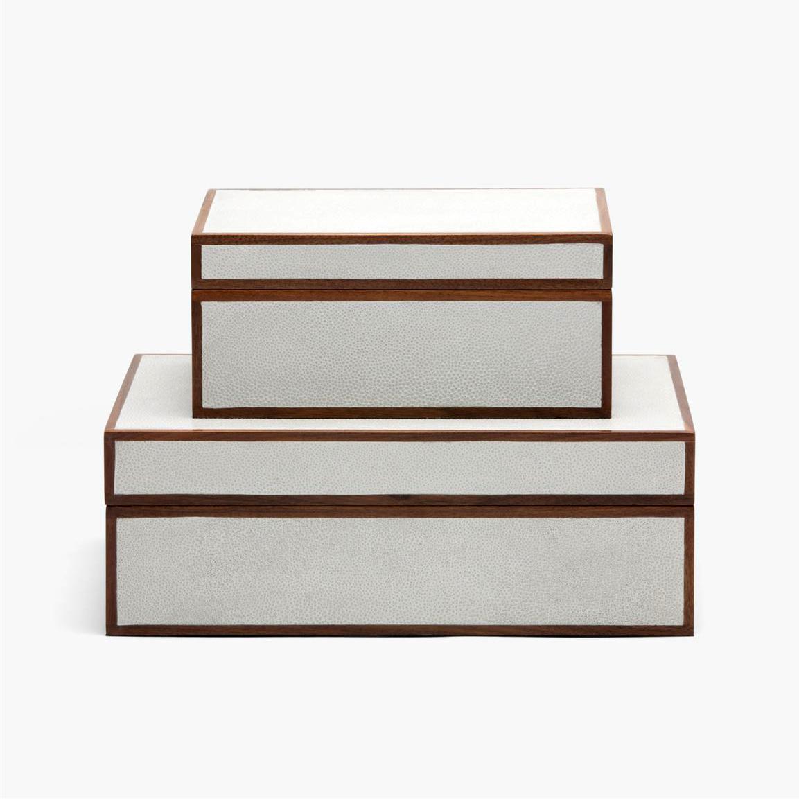 "Zaria ""Shagreen"" Boxes | Bright White"