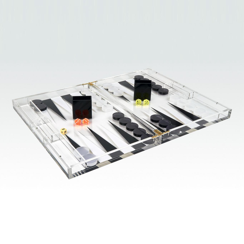 Luigi Lucite Backgammon Set   Black & White