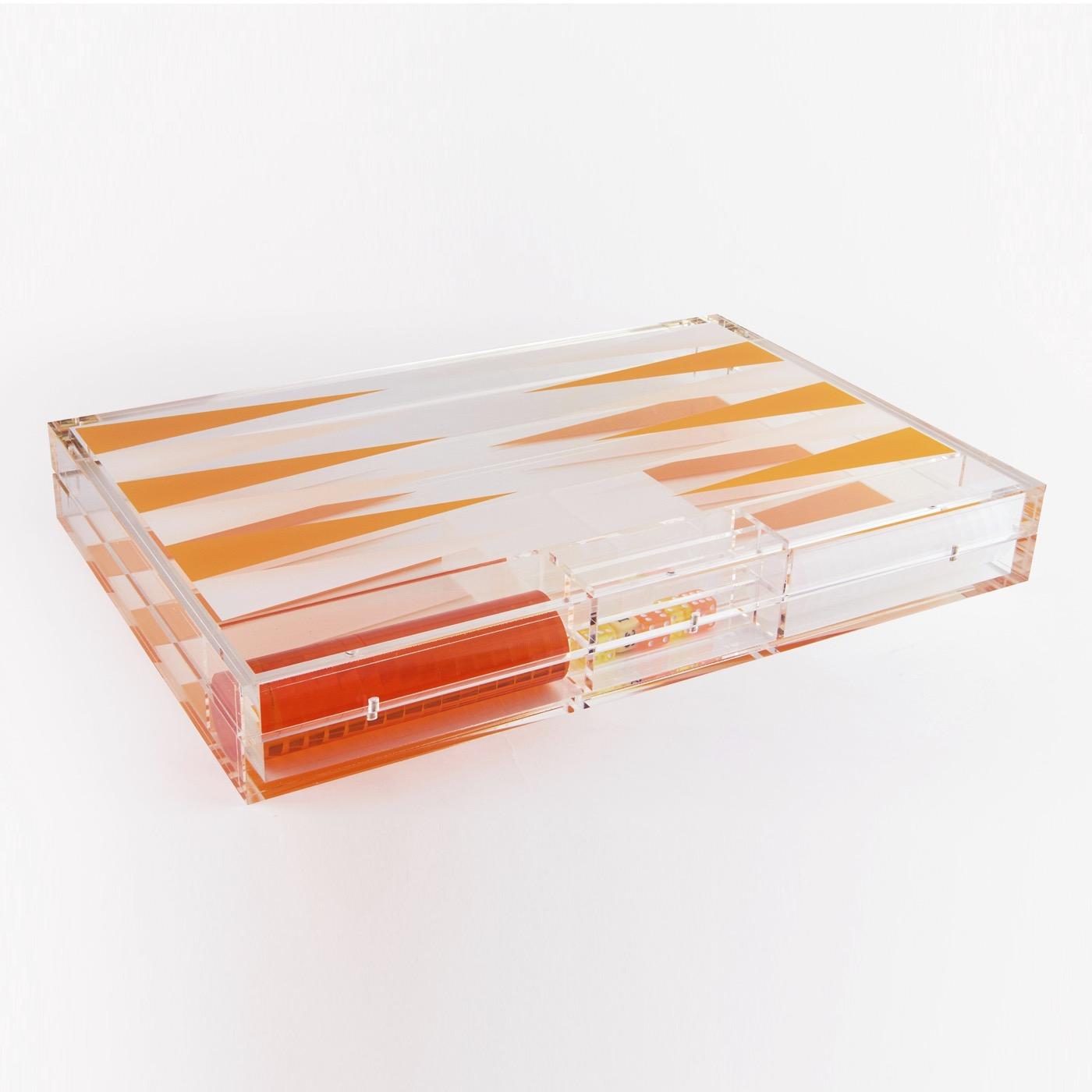 Luigi Lucite Backgammon Set   Orange