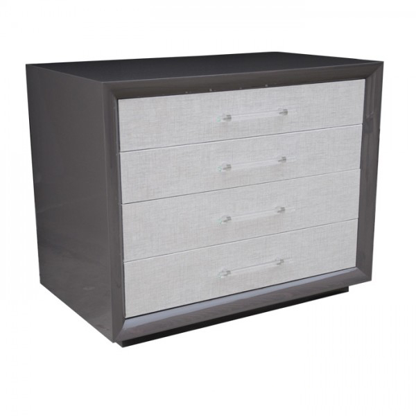 Mercer 4-Drawer Side Table, Painted w/ Fabric Fronts