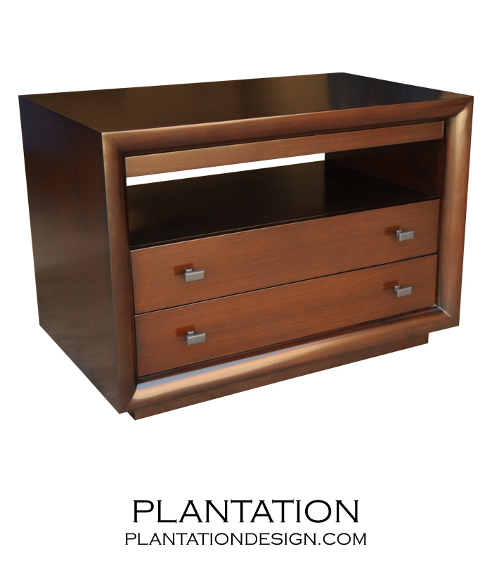 Mercer 2-Drawer Side Table w/Tray, Stained