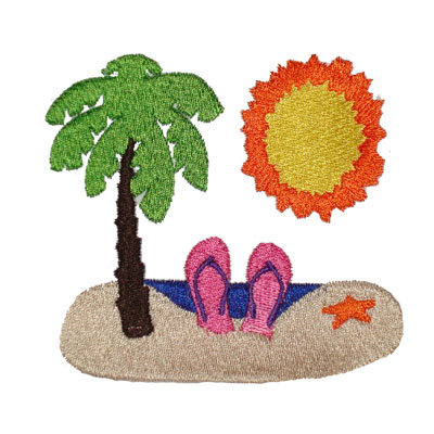 Island & Palm Tree Logo for Embrodery