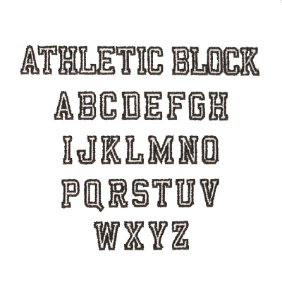 Atheletic Block Embroidery & Monogramming Font