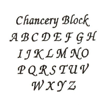 Chancery Block Embroidery & Monogram Font