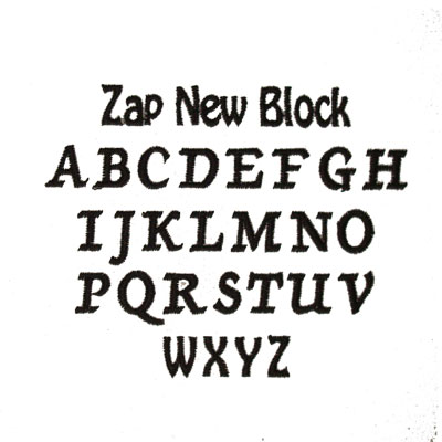 Embroidery Zap New Block Font