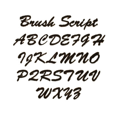 Brush Script  Embroidery & Monogramming Font