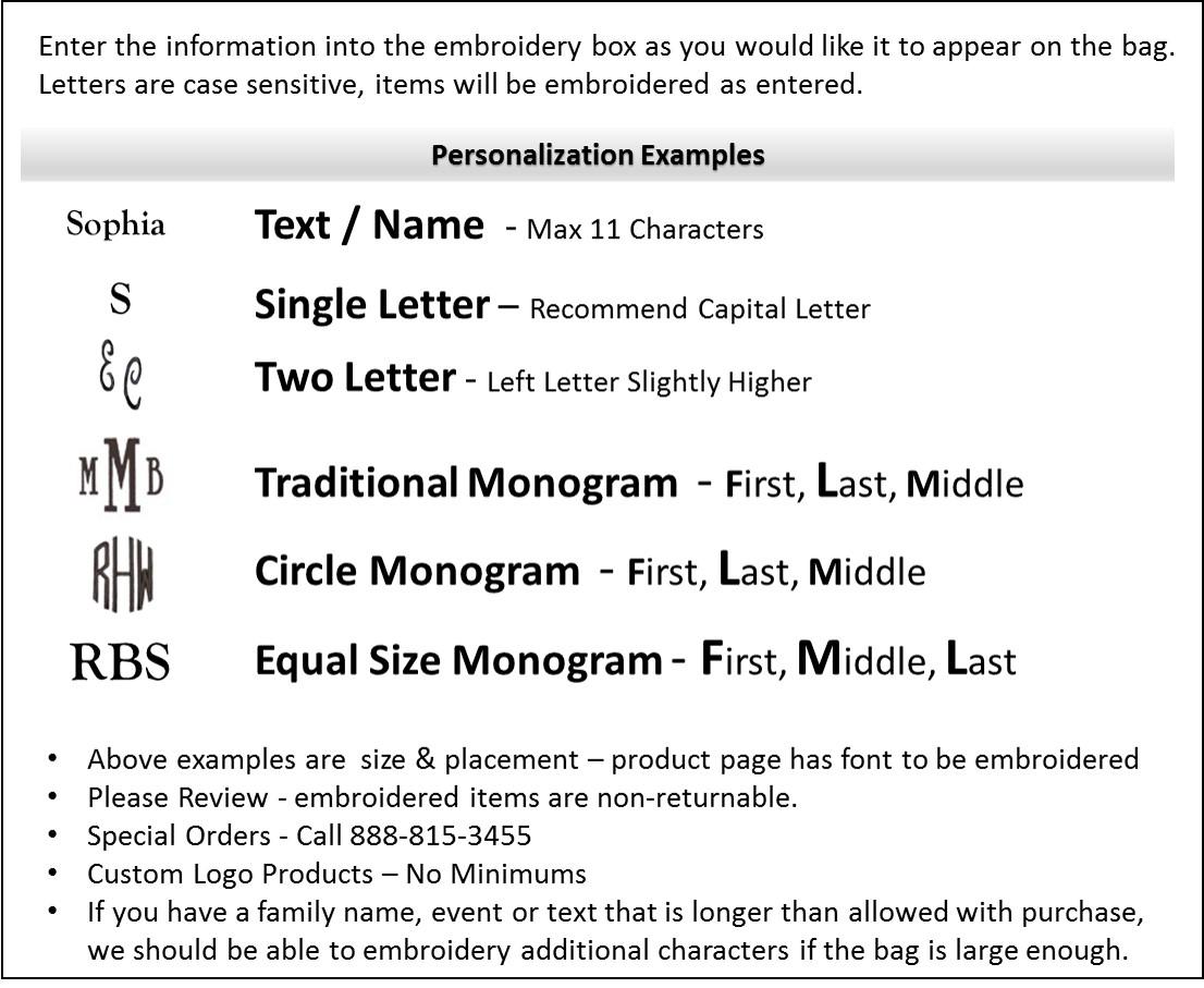 Embroidery & Monogram personalization guide