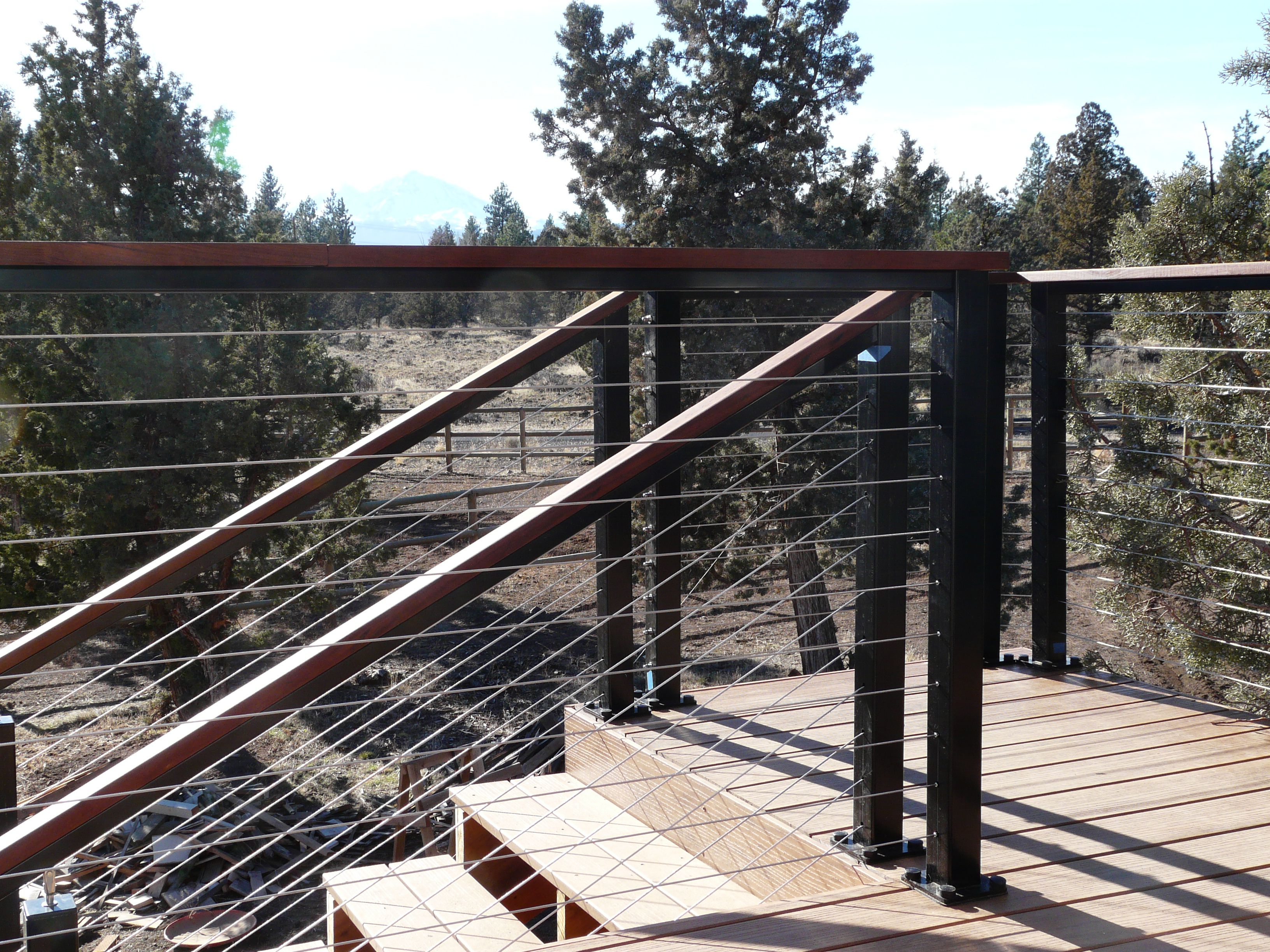 Black Aluminum Posts with Wood Top rail