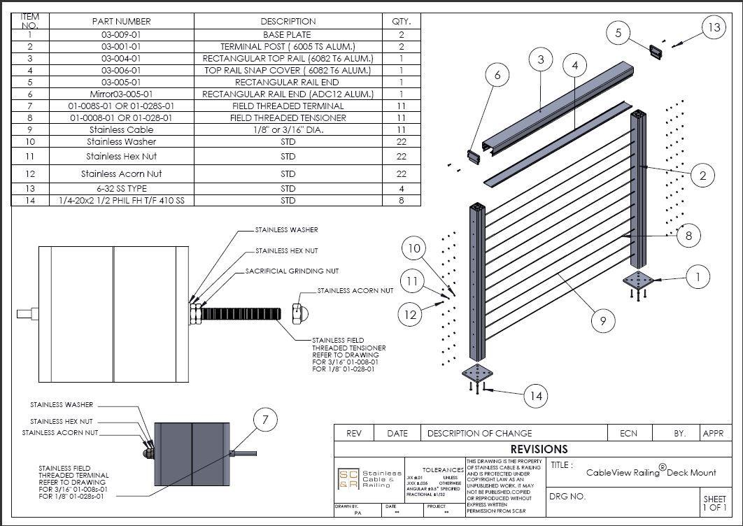 Aluminum CableView Railing Deck Mount Breakout