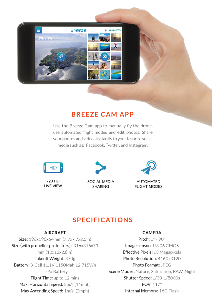 Breeze Flying Camera Instructions