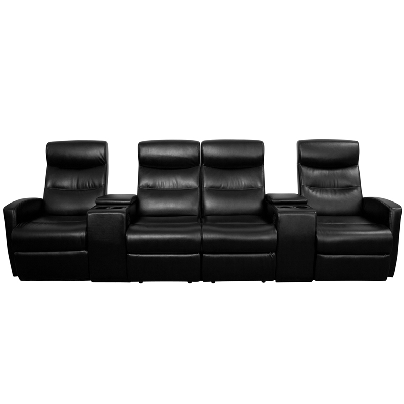 Black Leather 4 Seat Home Theater Recliner W/ Storage Consoles   Flash  Furniture BT 70273 4 BK GG