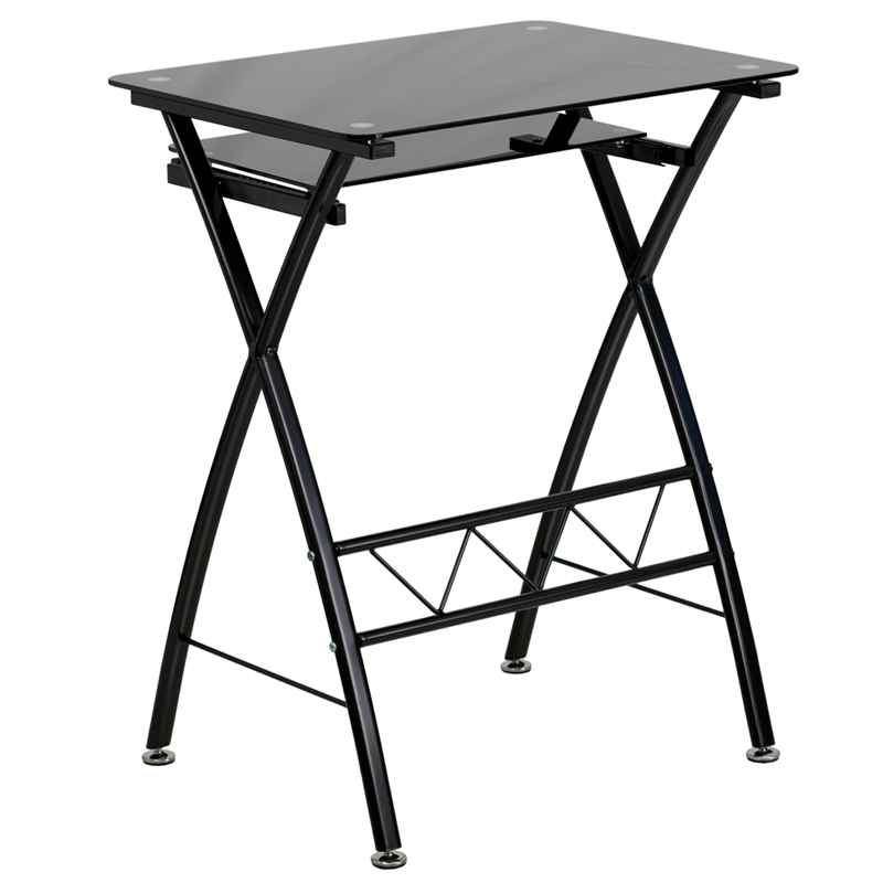 Black Tempered Glass Computer Desk W Pull Out Keyboard