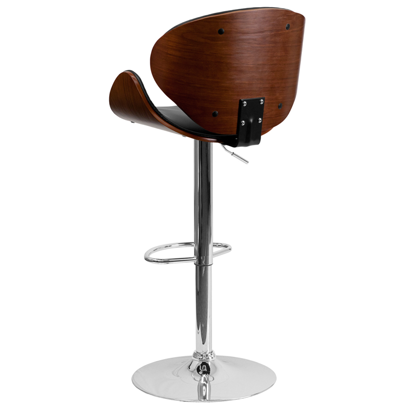 Walnut Bentwood Adjustable Height Bar Stool W/ Curved Black Vinyl Seat U0026  Back   Flash Furniture SD 2203 WAL GG