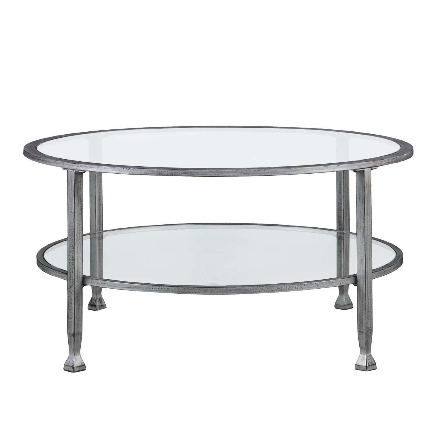 Jaymes Metalglass Round Cocktail Table In Silver  Southern Enterprises