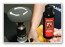 "Use a 4"" grey pad to work Wolfgang Plastik Lens Glaze to remove the  haze from headlight."