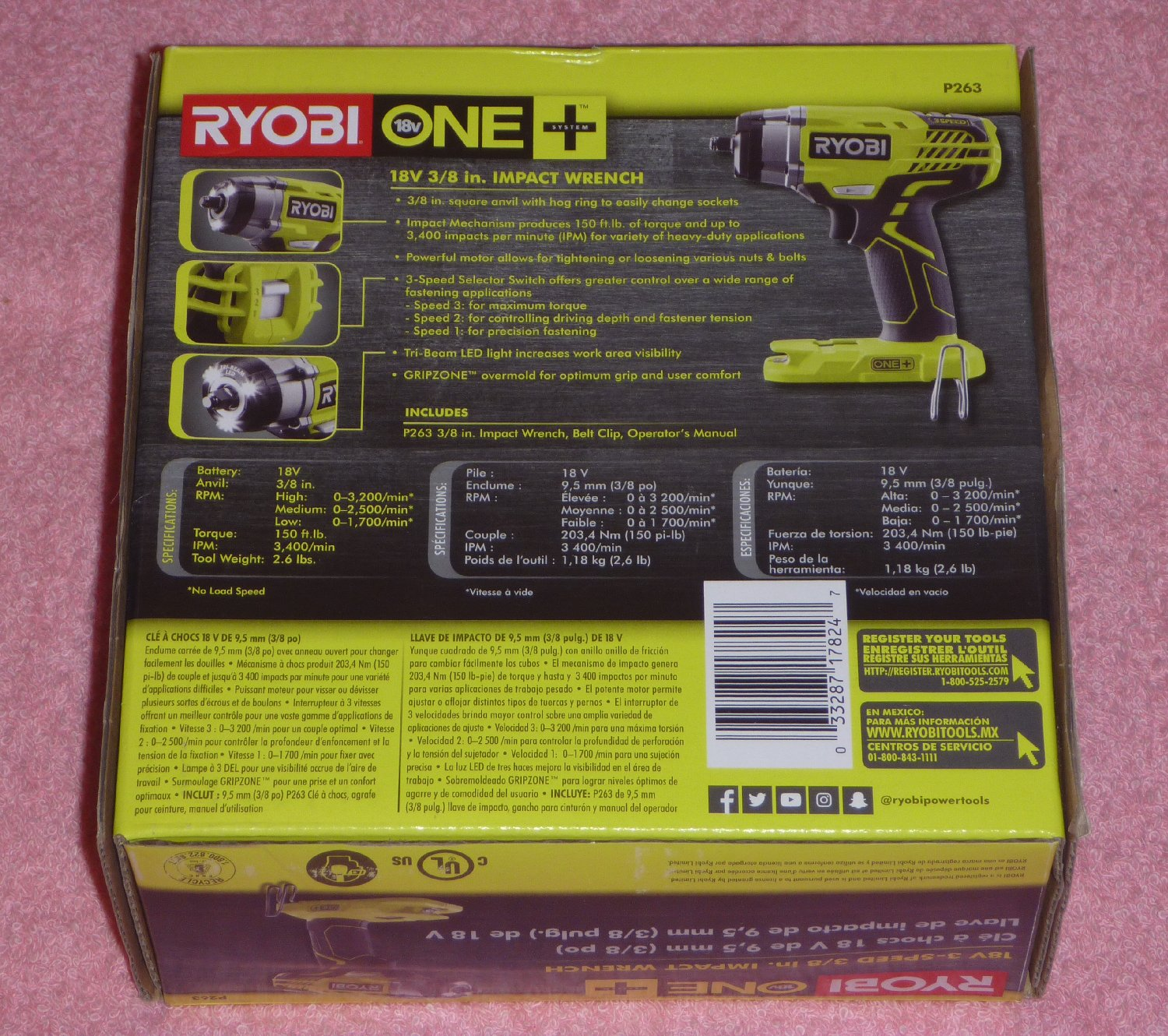 Details about Ryobi One+ P263 18v 3-Speed 3/8